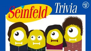 Seinfeld trivia night graphic with Seinfeld-themed aliens